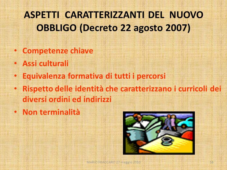 ASPETTI CARATTERIZZANTI DEL NUOVO OBBLIGO (Decreto 22 agosto 2007)