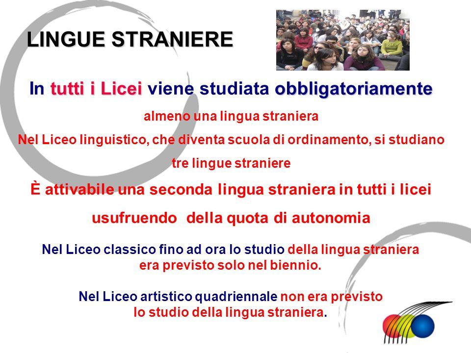 LINGUE STRANIEREIn tutti i Licei viene studiata obbligatoriamente almeno una lingua straniera.