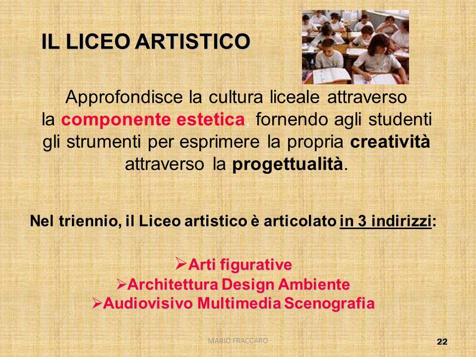 IL LICEO ARTISTICO Approfondisce la cultura liceale attraverso