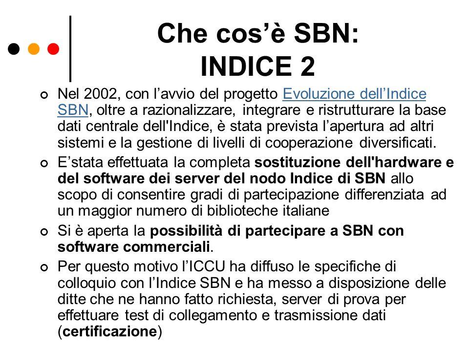 Che cos'è SBN: INDICE 2