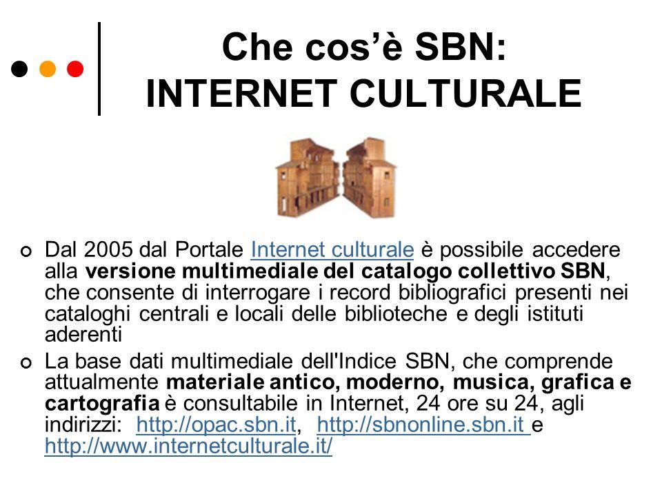 Che cos'è SBN: INTERNET CULTURALE