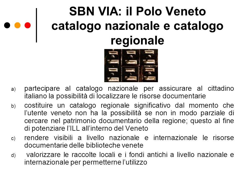 SBN VIA: il Polo Veneto catalogo nazionale e catalogo regionale