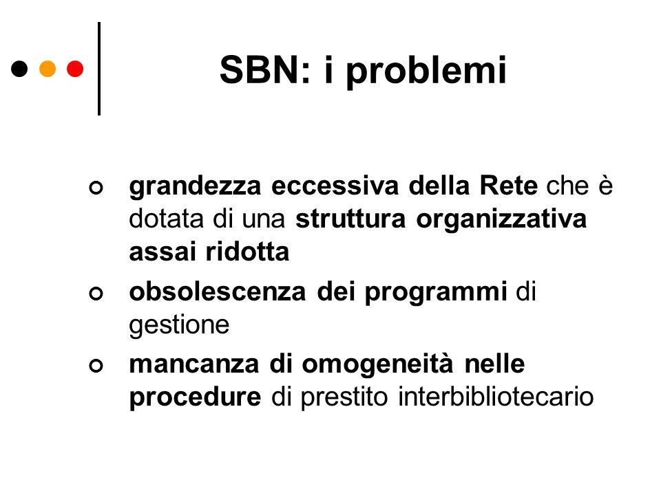 SBN: i problemi grandezza eccessiva della Rete che è dotata di una struttura organizzativa assai ridotta.