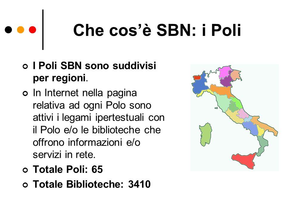 Che cos'è SBN: i Poli I Poli SBN sono suddivisi per regioni.