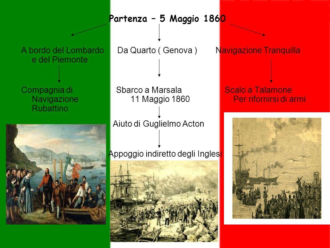 Partenza – 5 Maggio 1860 A bordo del Lombardo Da Quarto ( Genova ) Navigazione Tranquilla e del Piemonte.