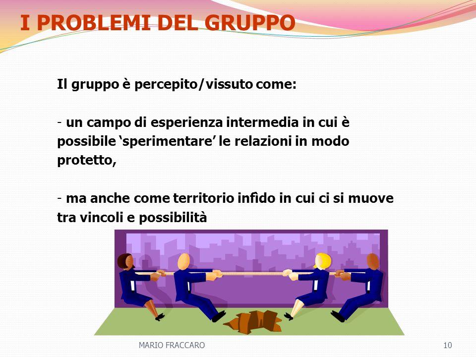 I PROBLEMI DEL GRUPPO Il gruppo è percepito/vissuto come:
