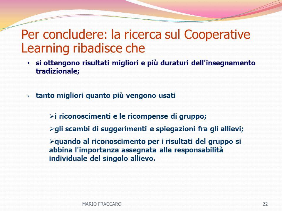 Per concludere: la ricerca sul Cooperative Learning ribadisce che