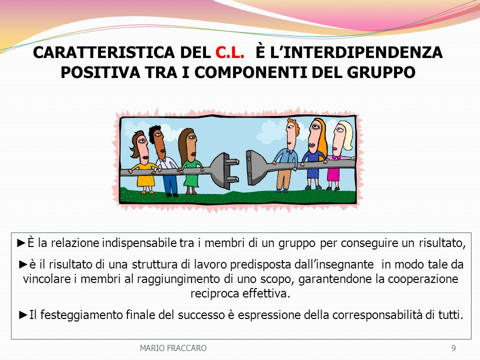 CARATTERISTICA DEL C.L. È L'INTERDIPENDENZA POSITIVA TRA I COMPONENTI DEL GRUPPO