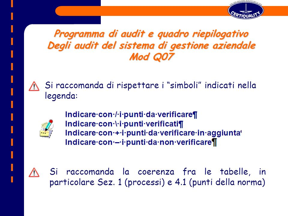 Programma di audit e quadro riepilogativo