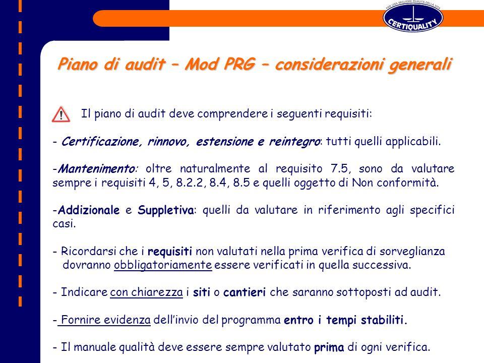 Piano di audit – Mod PRG – considerazioni generali