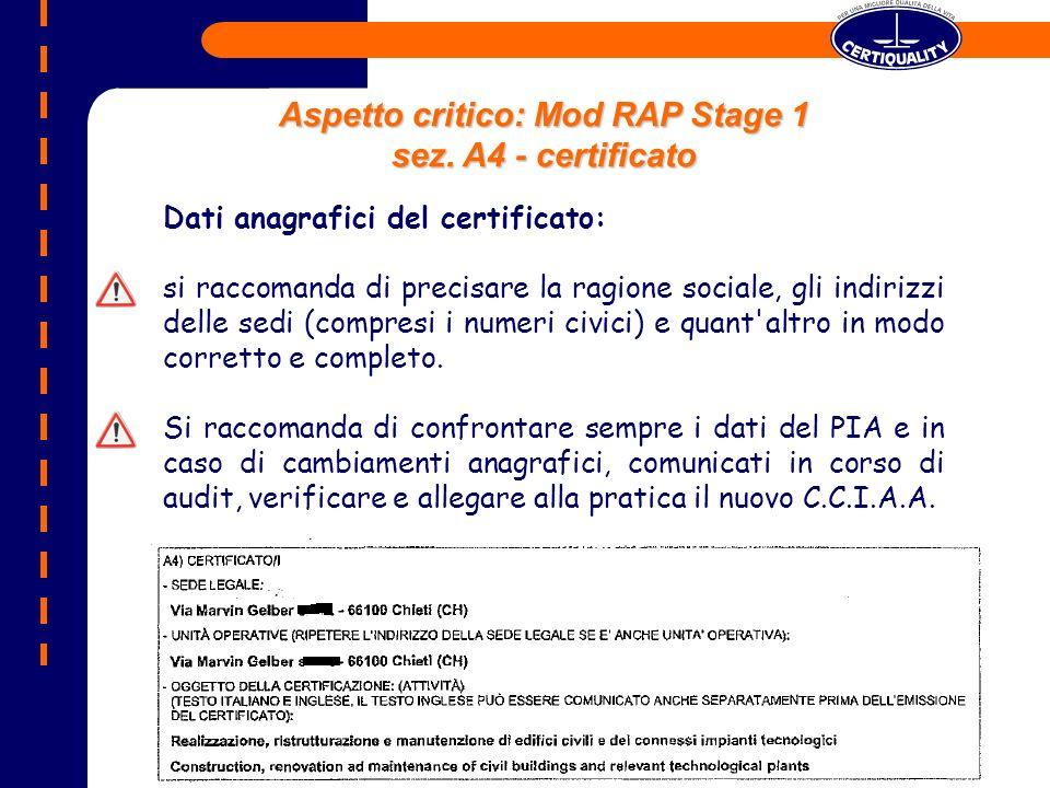 Aspetto critico: Mod RAP Stage 1