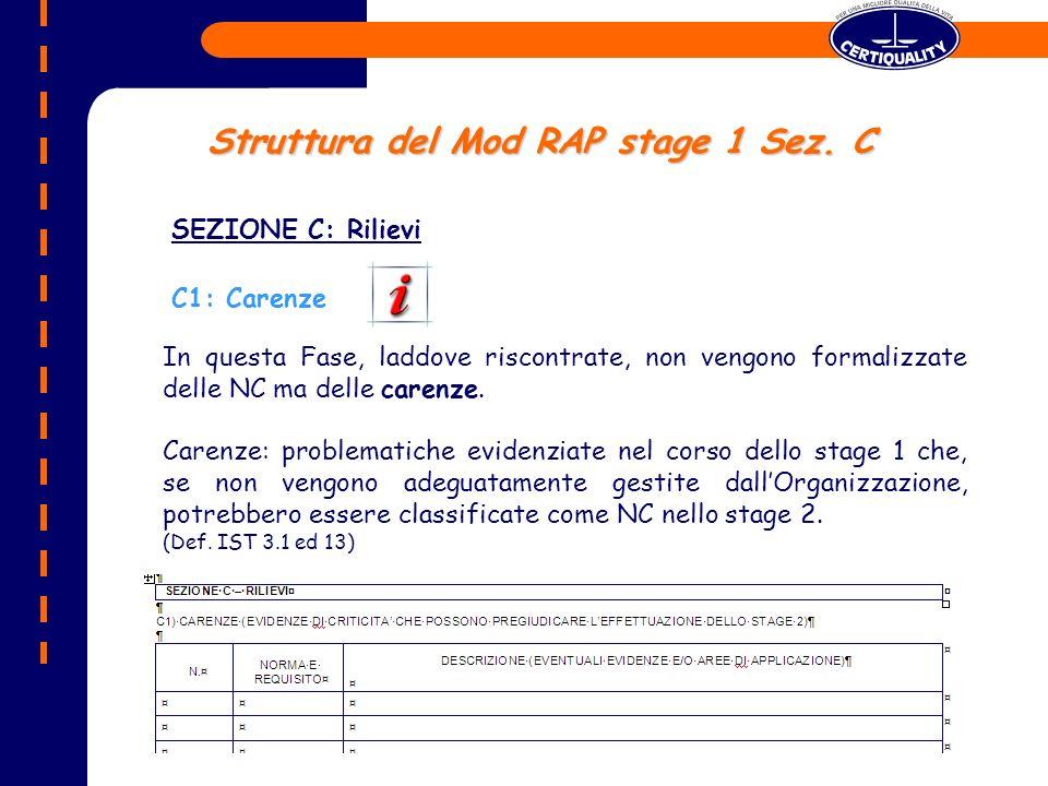 Struttura del Mod RAP stage 1 Sez. C