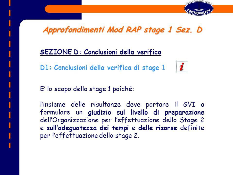 Approfondimenti Mod RAP stage 1 Sez. D
