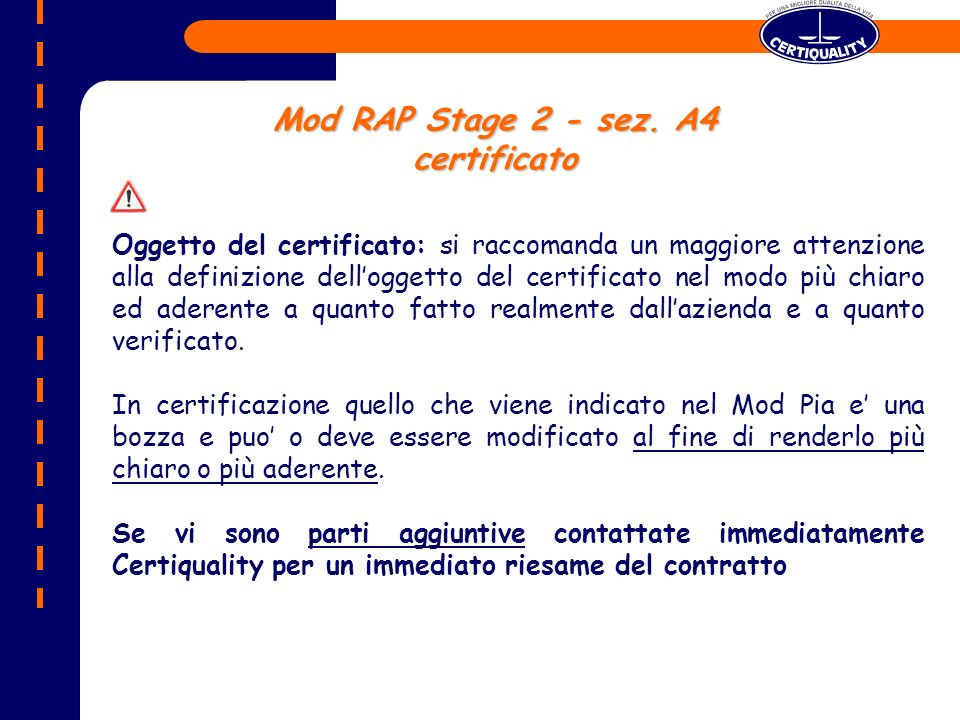 Mod RAP Stage 2 - sez. A4 certificato