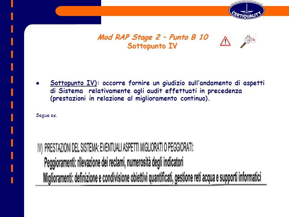 Mod RAP Stage 2 – Punto B 10 Sottopunto IV
