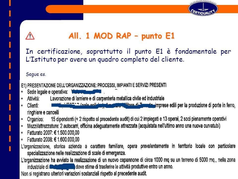 All. 1 MOD RAP – punto E1 In certificazione, soprattutto il punto E1 è fondamentale per L'Istituto per avere un quadro completo del cliente.