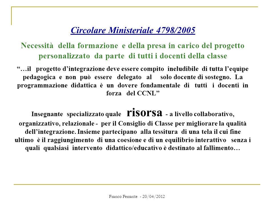 Circolare Ministeriale 4798/2005