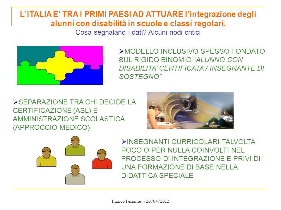 L'ITALIA E' TRA I PRIMI PAESI AD ATTUARE l'integrazione degli alunni con disabilità in scuole e classi regolari. Cosa segnalano i dati Alcuni nodi critici