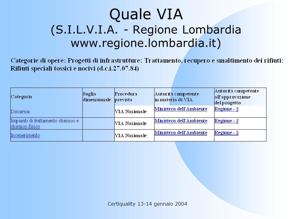 Quale VIA (S.I.L.V.I.A. - Regione Lombardia www.regione.lombardia.it)
