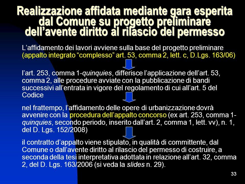 Realizzazione affidata mediante gara esperita dal Comune su progetto preliminare dell'avente diritto al rilascio del permesso