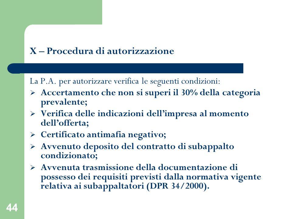 X – Procedura di autorizzazione