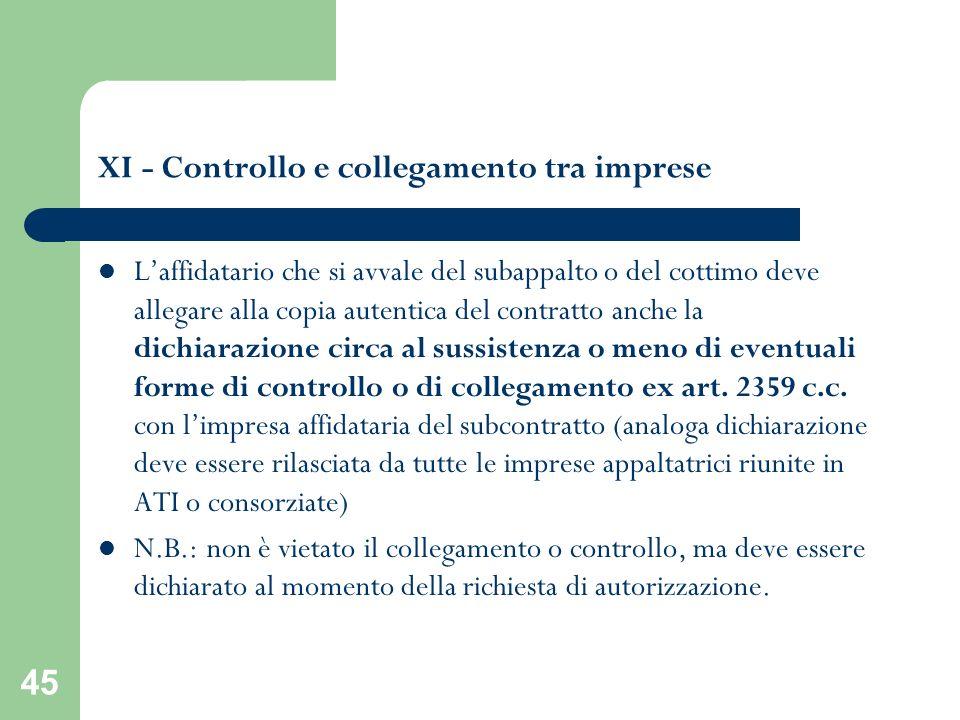 XI - Controllo e collegamento tra imprese