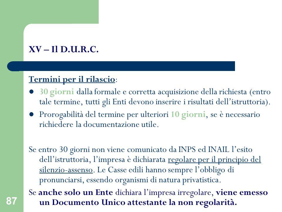 XV – Il D.U.R.C. Termini per il rilascio: