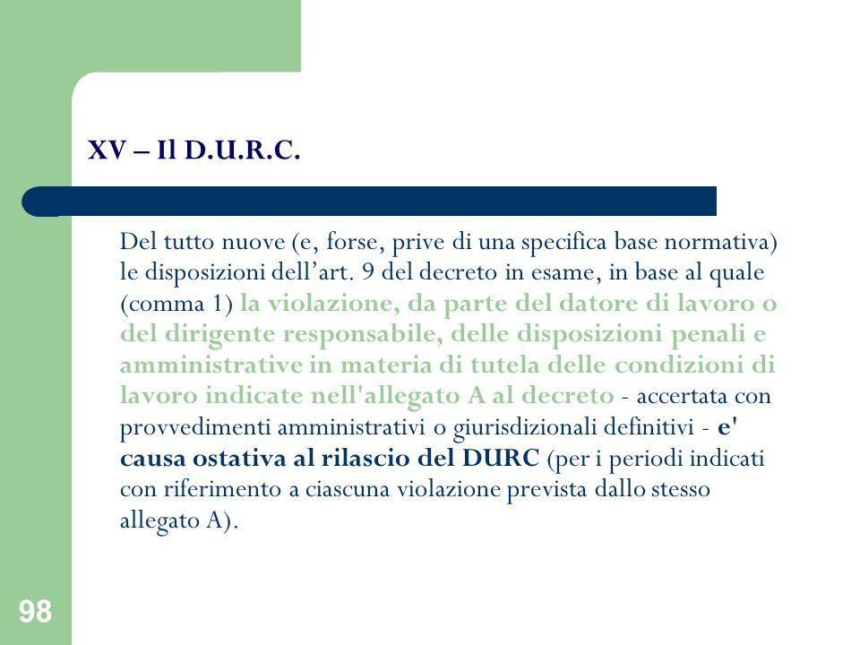 XV – Il D.U.R.C.