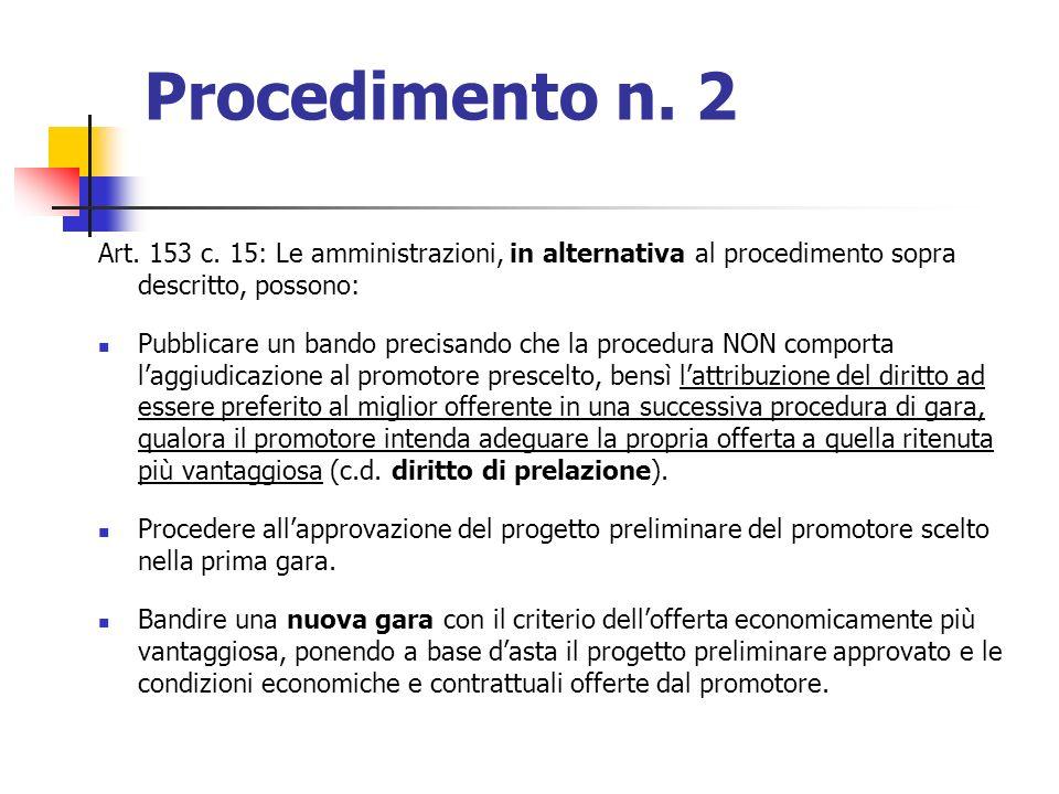 Procedimento n. 2 Art. 153 c. 15: Le amministrazioni, in alternativa al procedimento sopra descritto, possono: