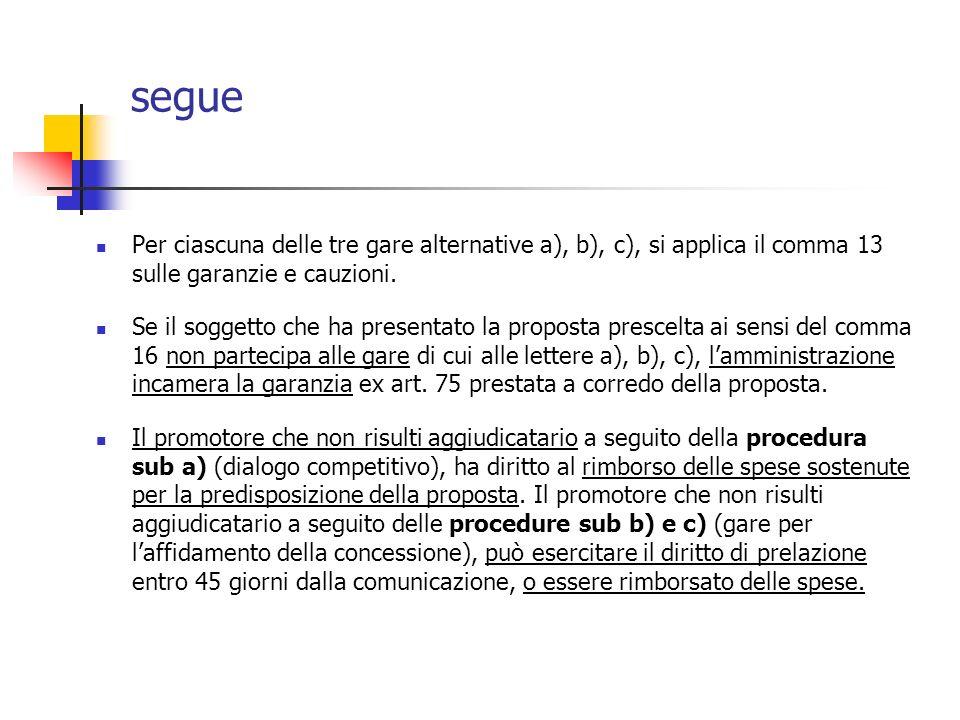 segue Per ciascuna delle tre gare alternative a), b), c), si applica il comma 13 sulle garanzie e cauzioni.