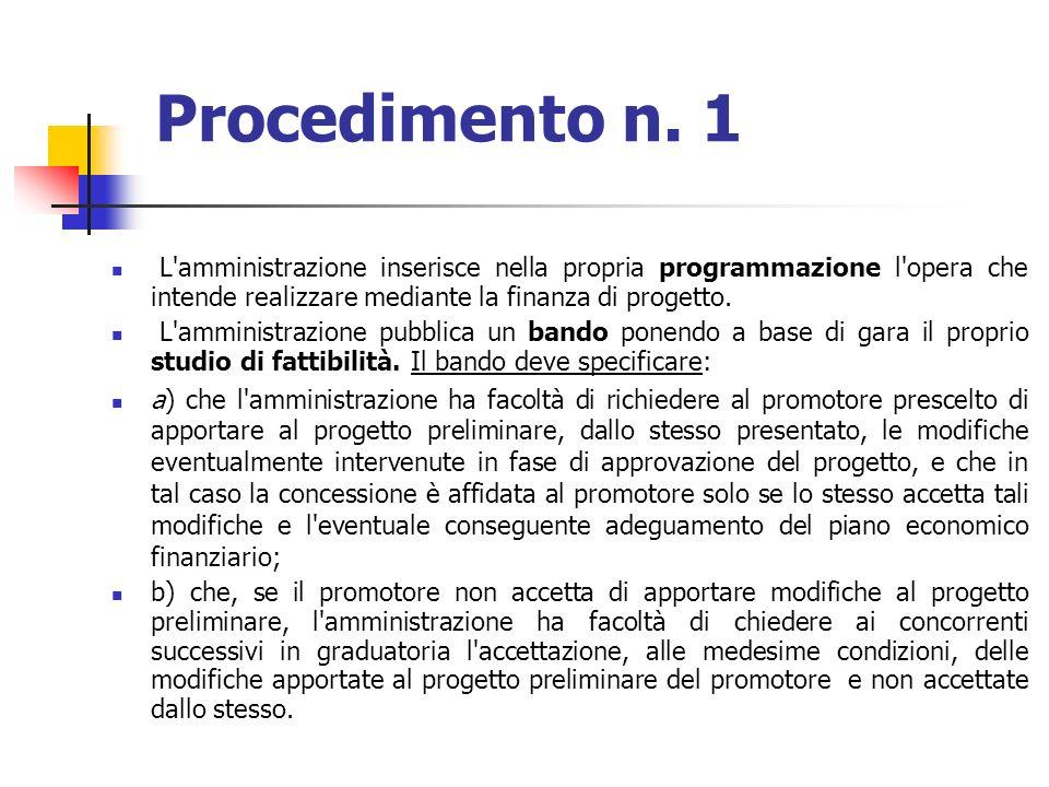 Procedimento n. 1 L amministrazione inserisce nella propria programmazione l opera che intende realizzare mediante la finanza di progetto.