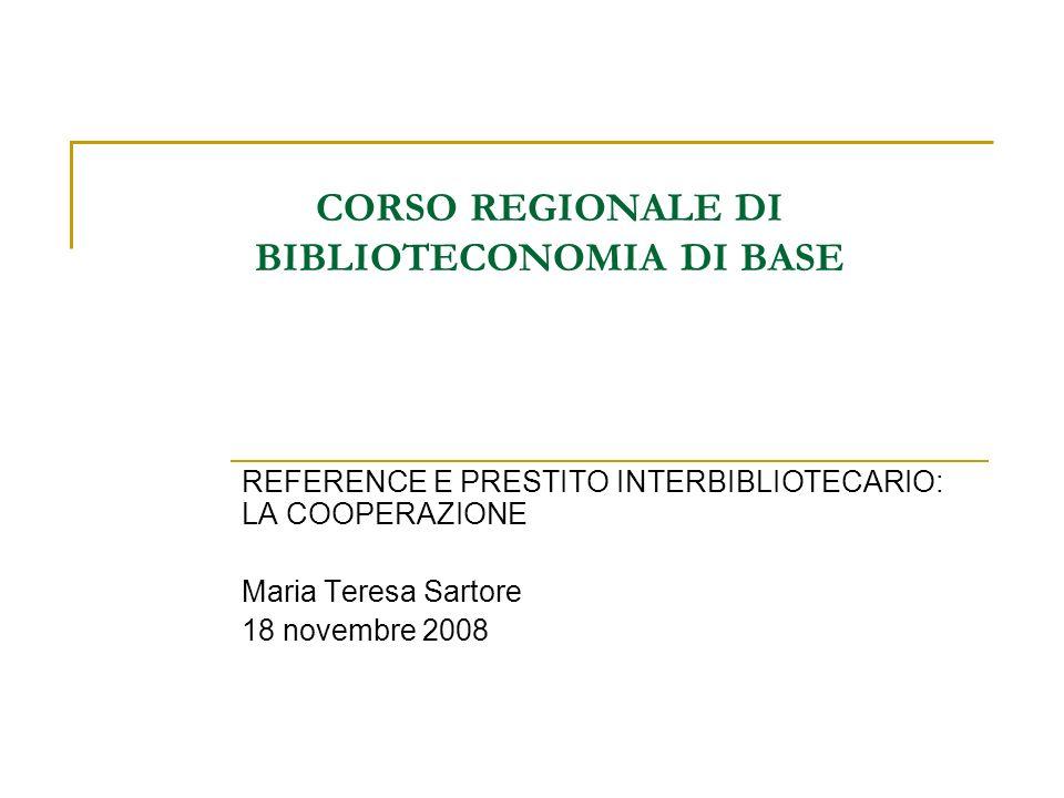 CORSO REGIONALE DI BIBLIOTECONOMIA DI BASE