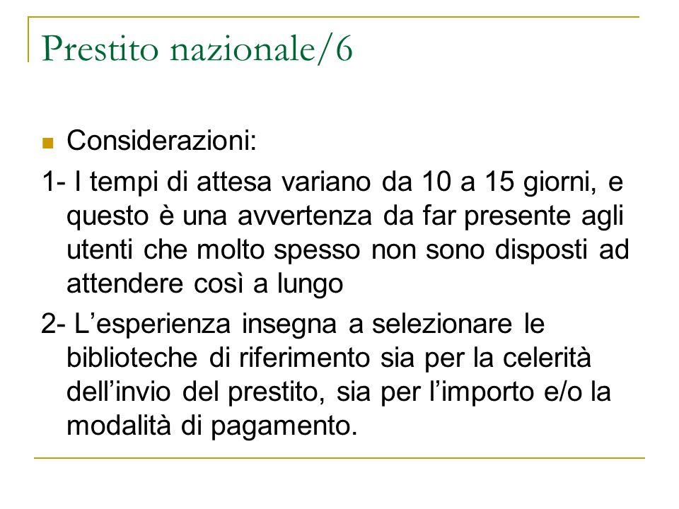Prestito nazionale/6 Considerazioni: