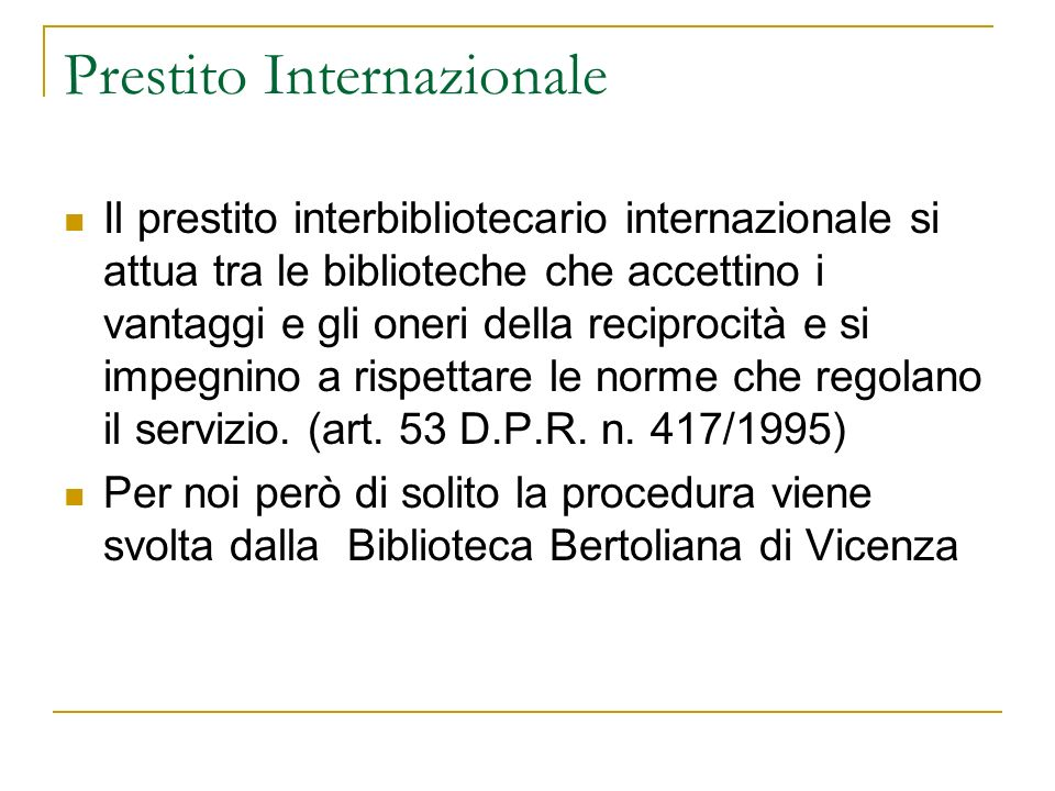 Prestito Internazionale