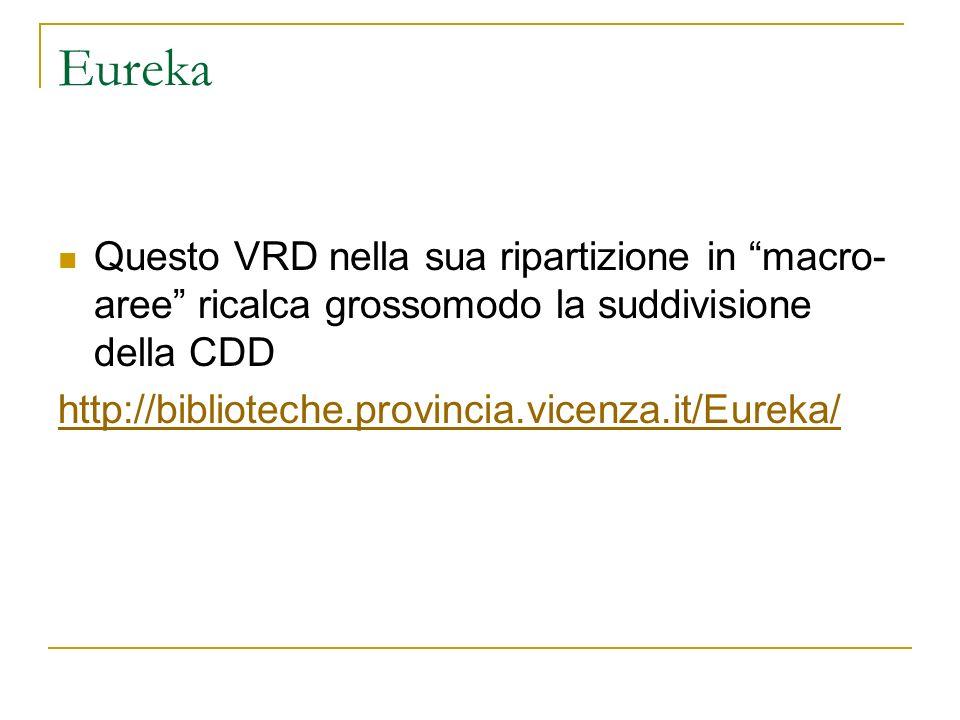 Eureka Questo VRD nella sua ripartizione in macro-aree ricalca grossomodo la suddivisione della CDD.