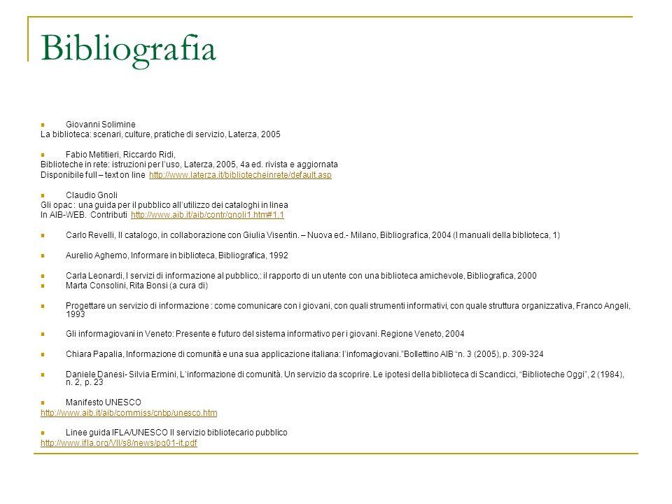 Bibliografia Giovanni Solimine