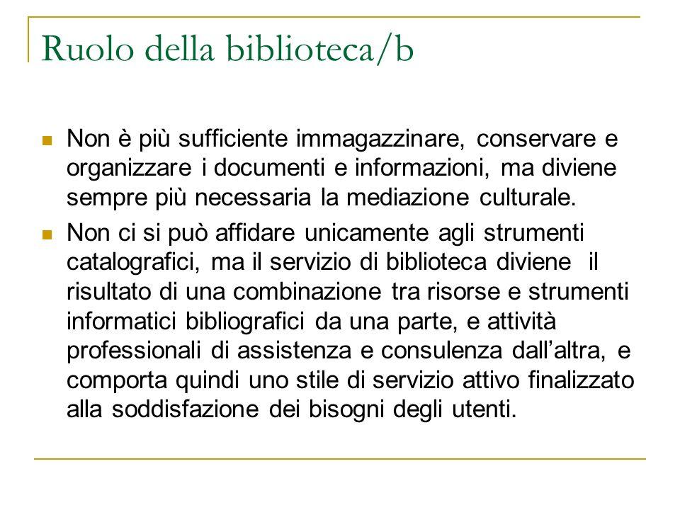 Ruolo della biblioteca/b