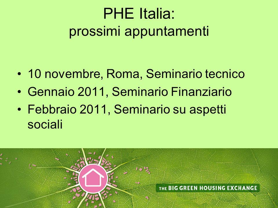 PHE Italia: prossimi appuntamenti