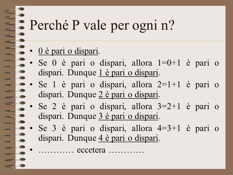 Perché P vale per ogni n 0 è pari o dispari.