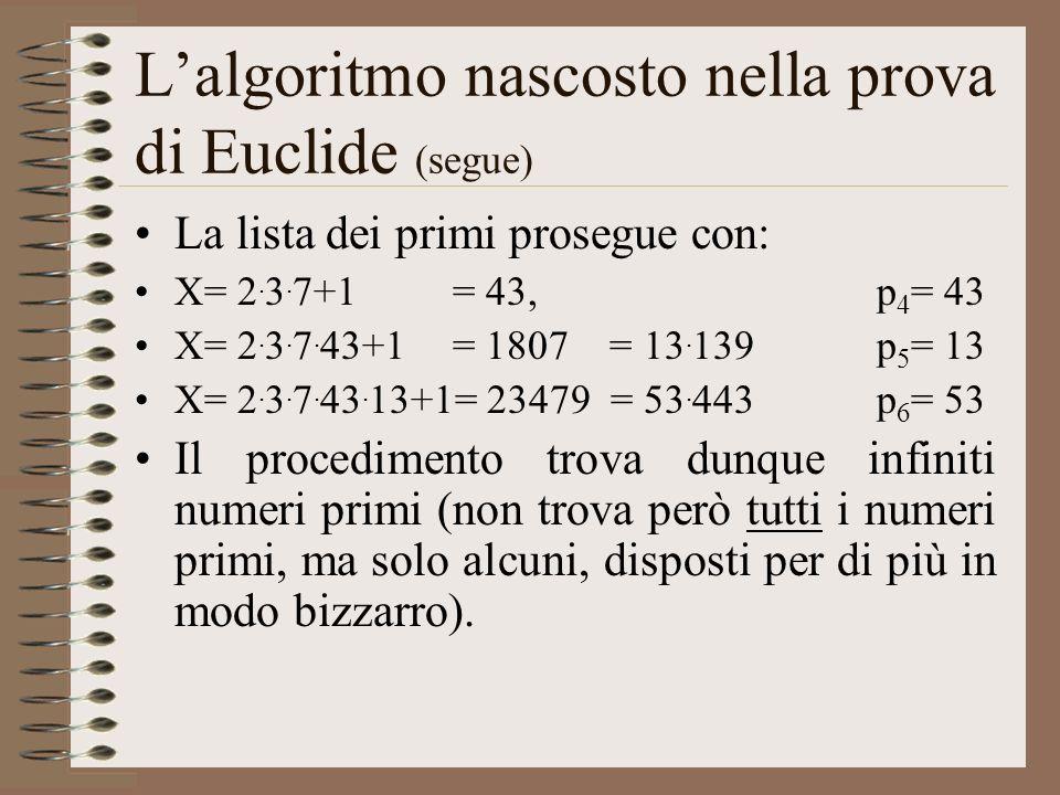 L'algoritmo nascosto nella prova di Euclide (segue)