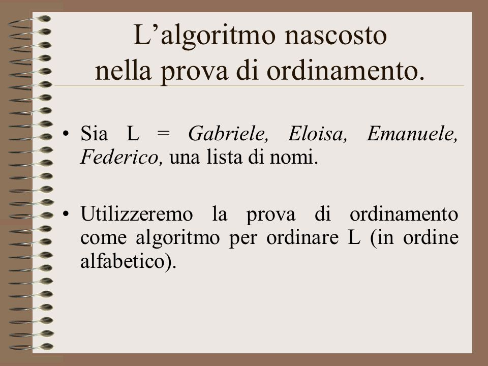 L'algoritmo nascosto nella prova di ordinamento.