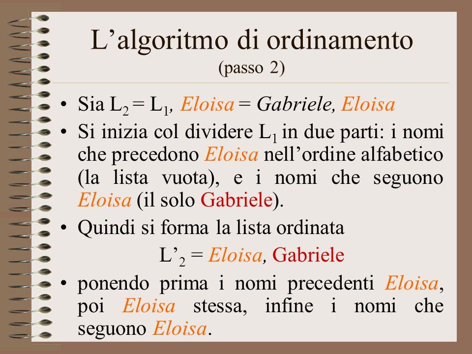 L'algoritmo di ordinamento (passo 2)