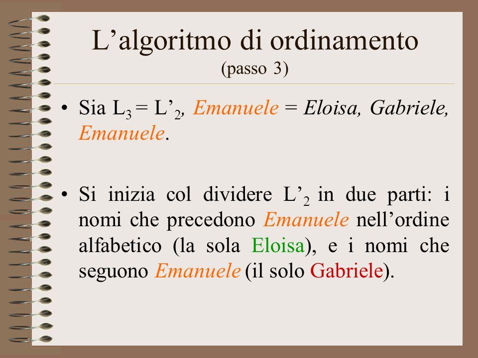 L'algoritmo di ordinamento (passo 3)