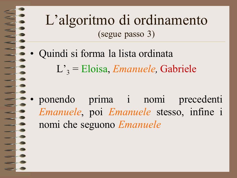 L'algoritmo di ordinamento (segue passo 3)