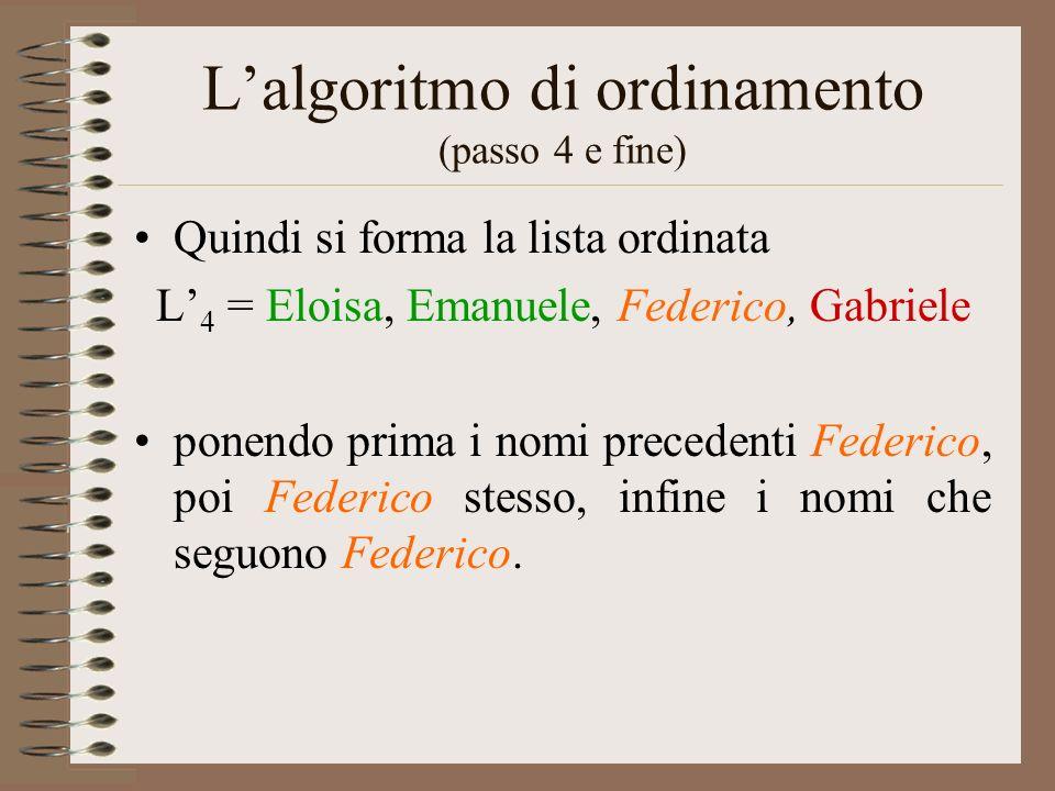 L'algoritmo di ordinamento (passo 4 e fine)