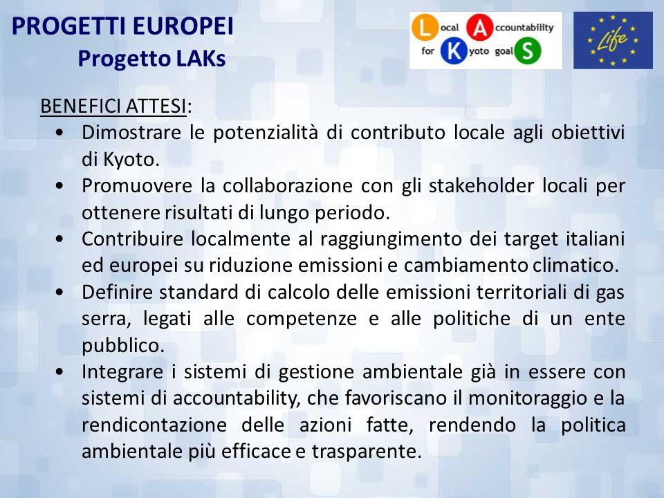 PROGETTI EUROPEI Progetto LAKs BENEFICI ATTESI: