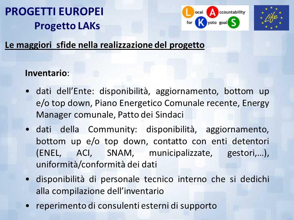 PROGETTI EUROPEI Progetto LAKs