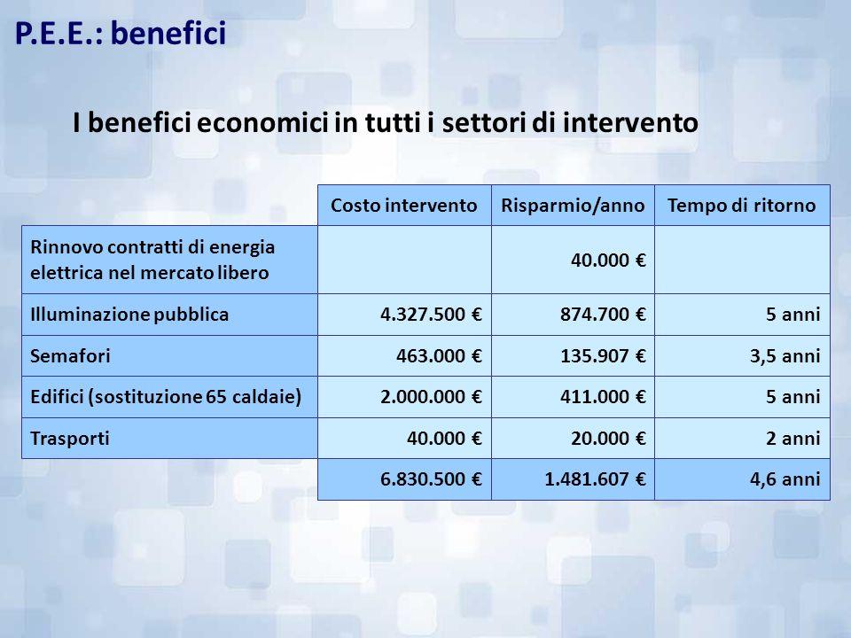 P.E.E.: benefici I benefici economici in tutti i settori di intervento