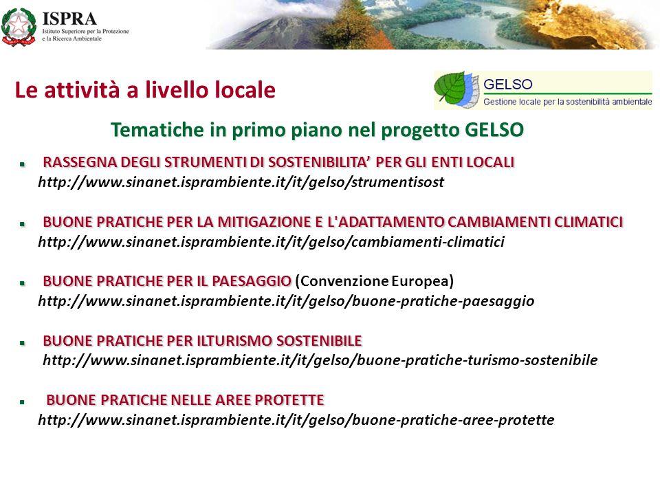 Tematiche in primo piano nel progetto GELSO