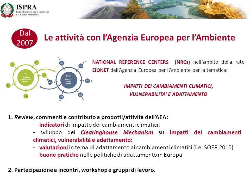 Le attività con l'Agenzia Europea per l'Ambiente